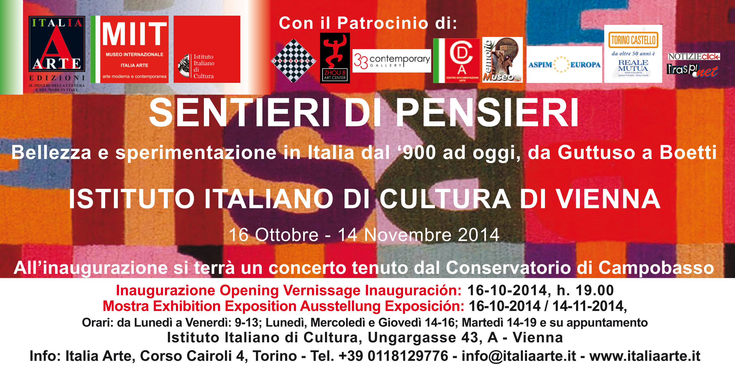 Invitation to collective exhibition at the at the Italian Cultural Institute in Vienna/Austria (Italy) 2014
