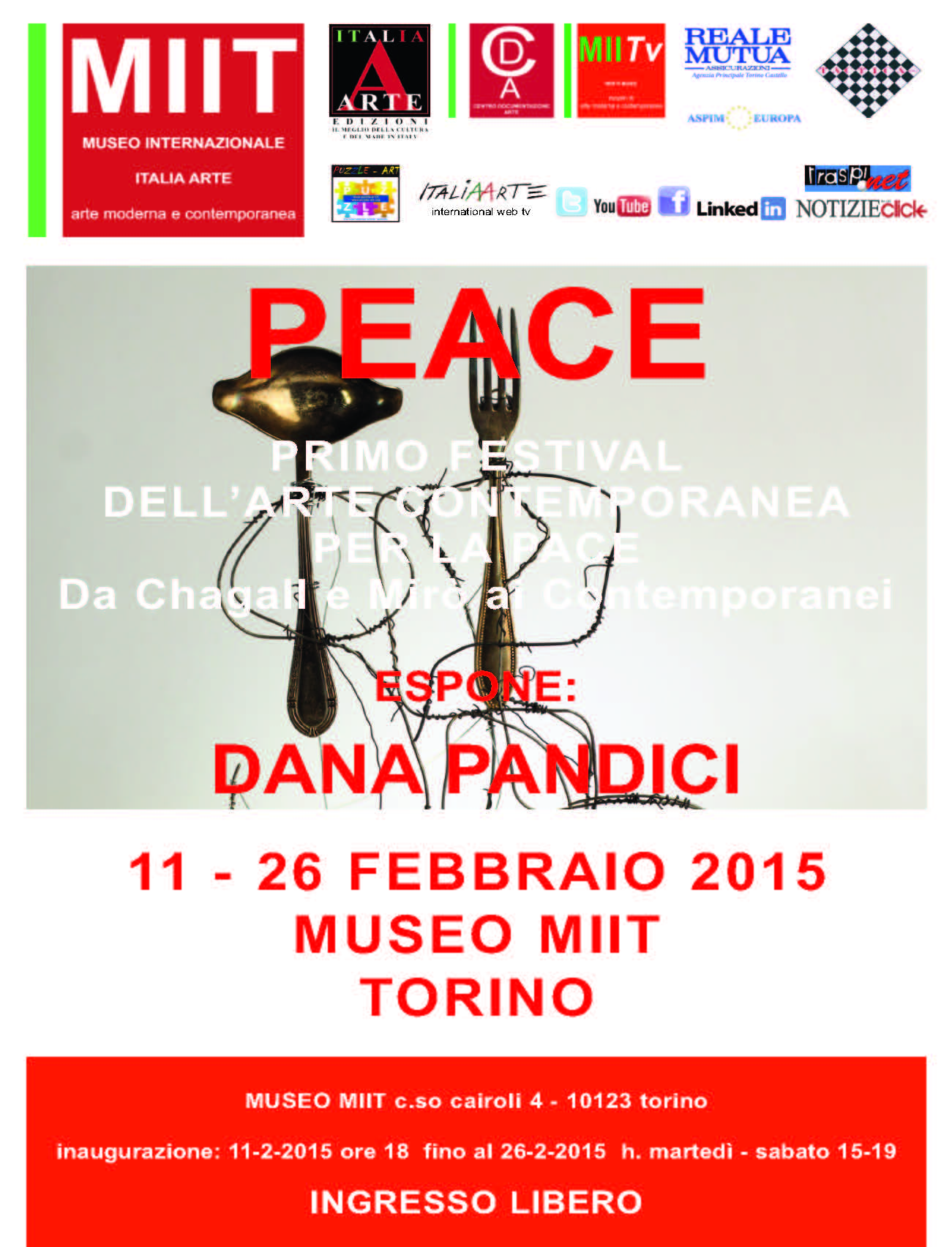 "Dana Pandicis participation at the first festival of contemporary art for peace ""Da Chagall e Mirò ai Contemporanei"""