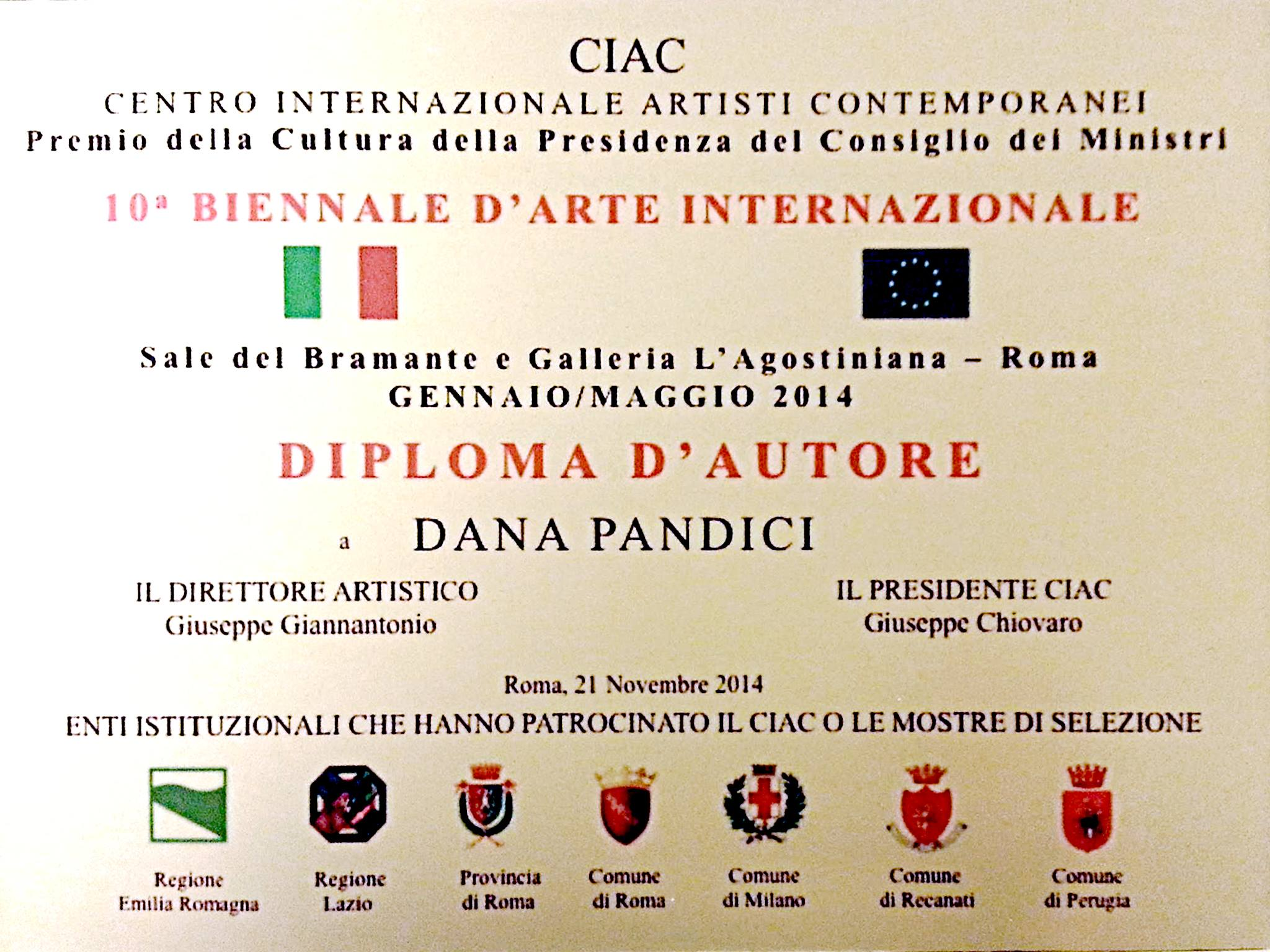 Diploma d'Autore at the 10th Edition of the Biennial of International Art of Rome, Italy